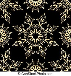 Beautiful floral background with golden pattern seamless