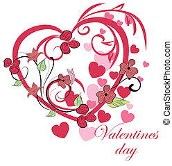 Beautiful floral background with heart