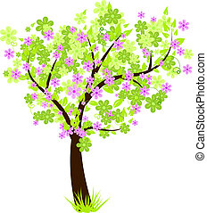 Beautiful floral blossom tree with green leaves and flowers...