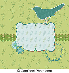 Beautiful Floral Card with Bird and place for your text or photo  in vector