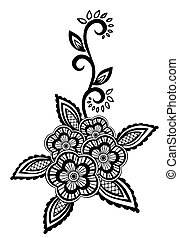 Beautiful floral element. Black-and-white flowers and leaves design element with imitation guipure embroidery.