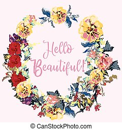 Beautiful floral frame design with signature hello beautiful