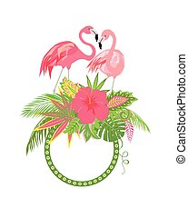 Beautiful floral frame with exotic flowers, tropical leaves and pair of lovely pink flamingo for wediing design, greeting card and invitations