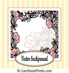 Beautiful floral frame with stripes