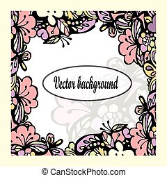 Beautiful floral frame with text