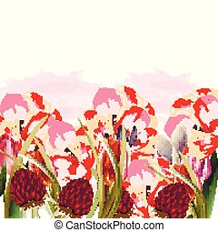 Beautiful floral illustration with spring flowers.eps