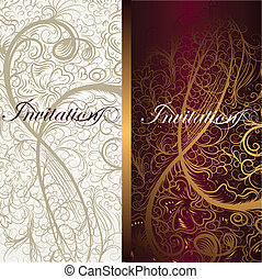 Vector invitation card with swirl floral ornament for design