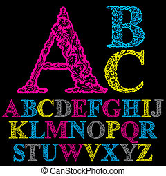 Beautiful floral letters font, vector alphabet.