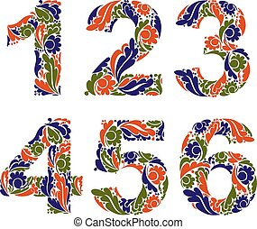 Beautiful floral numbers, decorative digits with vintage ...
