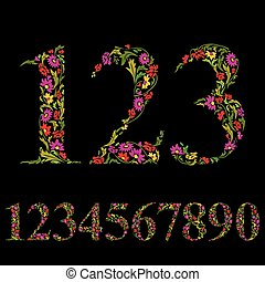Beautiful floral numbers set, vector numerals.
