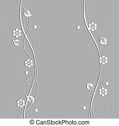 Beautiful floral pattern on gray background.