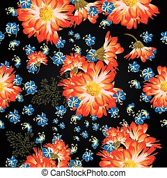 Beautiful floral pattern with bright chamomilies and blue flowers [Converted].eps