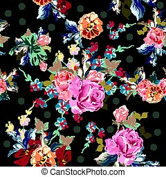 Beautiful floral pattern with roses and cosmos flowers in watercolor style.eps