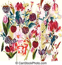 Beautiful floral pattern with spring flowers.eps