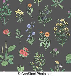 Beautiful floral seamless pattern with meadow herbs on black background. Gorgeous wild flowers and blooming herbaceous plants. Colorful vector illustration for textile print, wallpaper, backdrop.