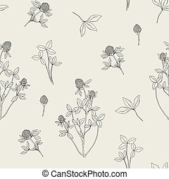 Beautiful floral seamless pattern with red clover on light background. Meadow flowers and leaves hand drawn in retro style. Vector black and white illustration.