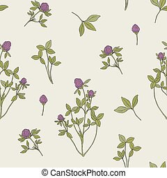 Beautiful floral seamless pattern with red clover on light background. Meadow plant with pink blooming flowers and green trifoliate leaves hand drawn in retro style. Vector illustration for wallpaper.