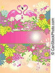 Beautiful floral summery banner with colorful flowers and pair of pink flamingo