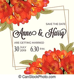 Beautiful floral wedding invitation in watercolor style