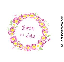 Beautiful floral wreath with pink daisy