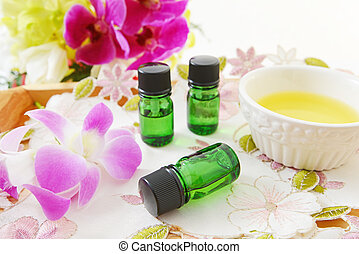 Beautiful flower and essential oil