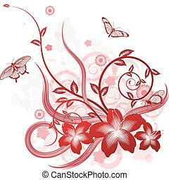 A detailed beautiful floral background design with butterflies.