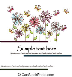 Beautiful flower card - Multicolored flowers and butterflies...