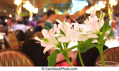 Beautiful flower in luxury restaurant, time lapse