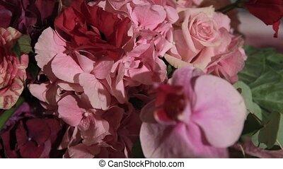 Beautiful flower wedding decoration. Close up.