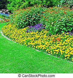 Beautiful flowerbed in summer park