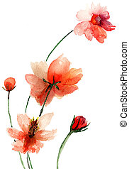 Beautiful flowers - Colorful watercolor illustration with...