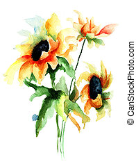 Colorful watercolor illustration with beautiful flowers