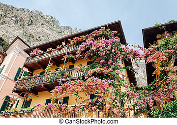 Beautiful flowers decorating old houses in Limone sul Garda...