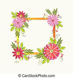 Beautiful Flowers Frame Isolated On White Background Colorful Floral Decoration Element