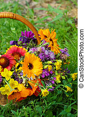 Beautiful flowers in a basket