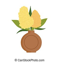 Beautiful Flowers in Clay Vase, Bouquet of Blooming Flowers for Interior Decoration Vector Illustration
