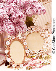 flowers lilac with vintage frames