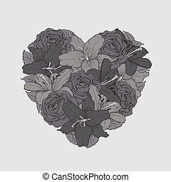 beautiful flowers lilies and roses painted in graphic style sketch, stacked in the shape of heart