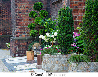 Beautiful flowers near red brick wall