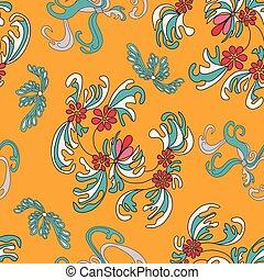 beautiful flowers on an orange background seamless pattern