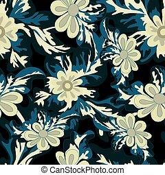 beautiful flowers on dark background seamless pattern