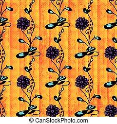 Beautiful flowers on orange background seamless pattern grunge texture