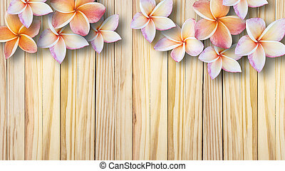 beautiful flowers on vintage wooden background