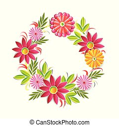 Beautiful Flowers Wreath Isolated On White Background Colorful Floral Round Frame Decoration Element