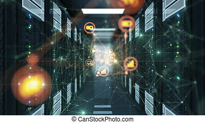 Beautiful Flowing Digital Network Icons with Growing Net Connections and Bright Flashes in Abstract Datacenter Server Racks Room. Looped 3d Animation. Futuristic Technology Concept. 4k UHD 3840x2160.