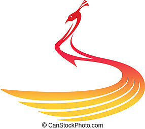 Beautiful flowing stylized peacock in shades of red and golden yellow, modern vector illustration on white