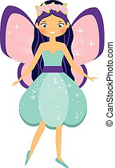 Beautiful flying fairy character with pink wings and purple hair. Fantasy elf princess with flower wreath. Winged girl in cartoon style