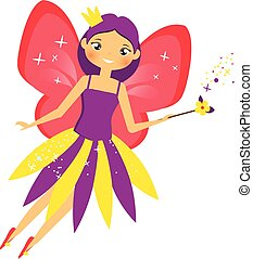 Beautiful flying fairy flapping magic stick. Elf princess with wand. Cartoon style