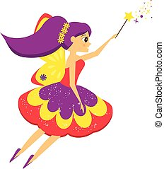 Beautiful flying fairy flapping magic wand. Elf princess. Cartoon style