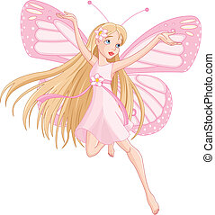 Beautiful flying fairy - Illustration of flying beautiful...